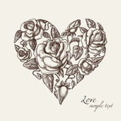 сердце из роз — Cтоковый вектор