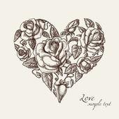 Hjärta av rosor — Stockvektor