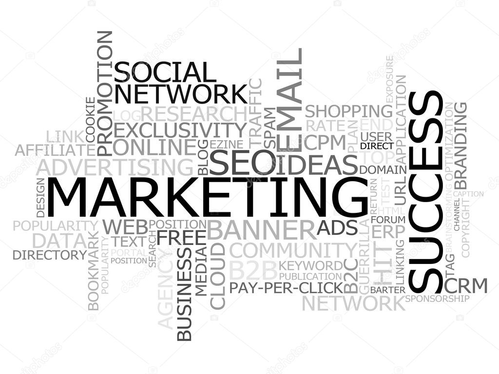 Cloud made of marketing terms, with special emphasis in the marketing, success and social network ones. — Stock Photo #6764797