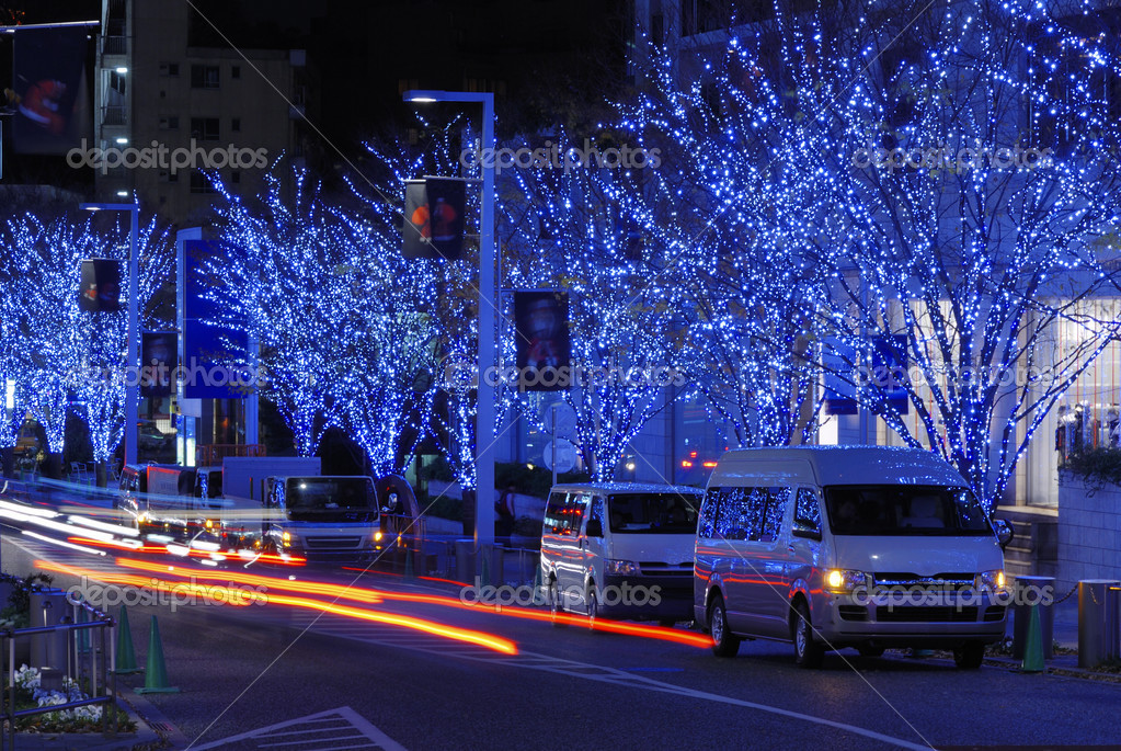 Tokyo street illumination by Christmas time  Foto de Stock   #7457978