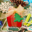 Stock Photo: Table decoration with gift for christmas