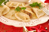 Pierogi (ravioli) with mushroom and cabbage for christmas — Stock Photo