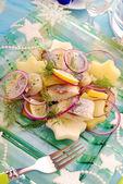 Herring salad with potato and apple — Stock Photo