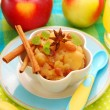 Dessert with stewed apples for baby — Stock Photo