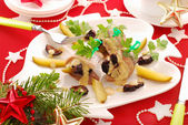 Herrings with prune and gherkin — Stock Photo