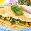 Pancakes with spinach and eggs for child — Stock Photo #7586886
