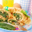 Pancakes with spinach and eggs — Stock Photo #7586919