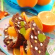 Chocolate pancakes with cottage cheese and tangerines — Stock Photo