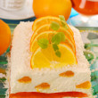 Cheese cake with oranges and jelly for christmas — Stock Photo