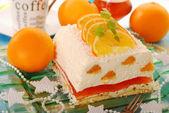 Tvarohový dort s pomeranče a želé na Vánoce — Stock fotografie