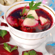 Red borscht with ravioli — Stock Photo