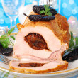 Stock Photo: Loin of pork stuffed with prune
