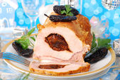 Loin of pork stuffed with prune — Stockfoto