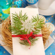 Christmas eve wafer on plate with hay — Stock Photo