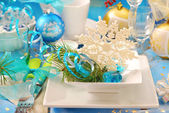 Christmas table with snowflake decoration on the plate — Stock Photo