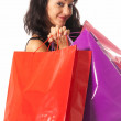 Young woman with shopping bags close-up isolated on white background — Stock Photo #7568172