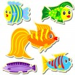 Cartoon vector fish sticker set - Stock Vector