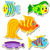 Cartoon vector fish sticker set — Stock Vector