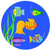 Vector cartoon fish is the sea — Stock Vector