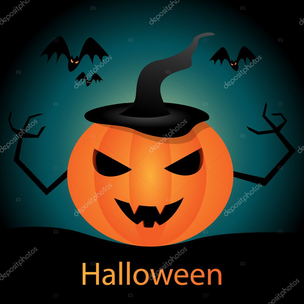 Vector halloween picture with pumking  Stock Vector #6750630