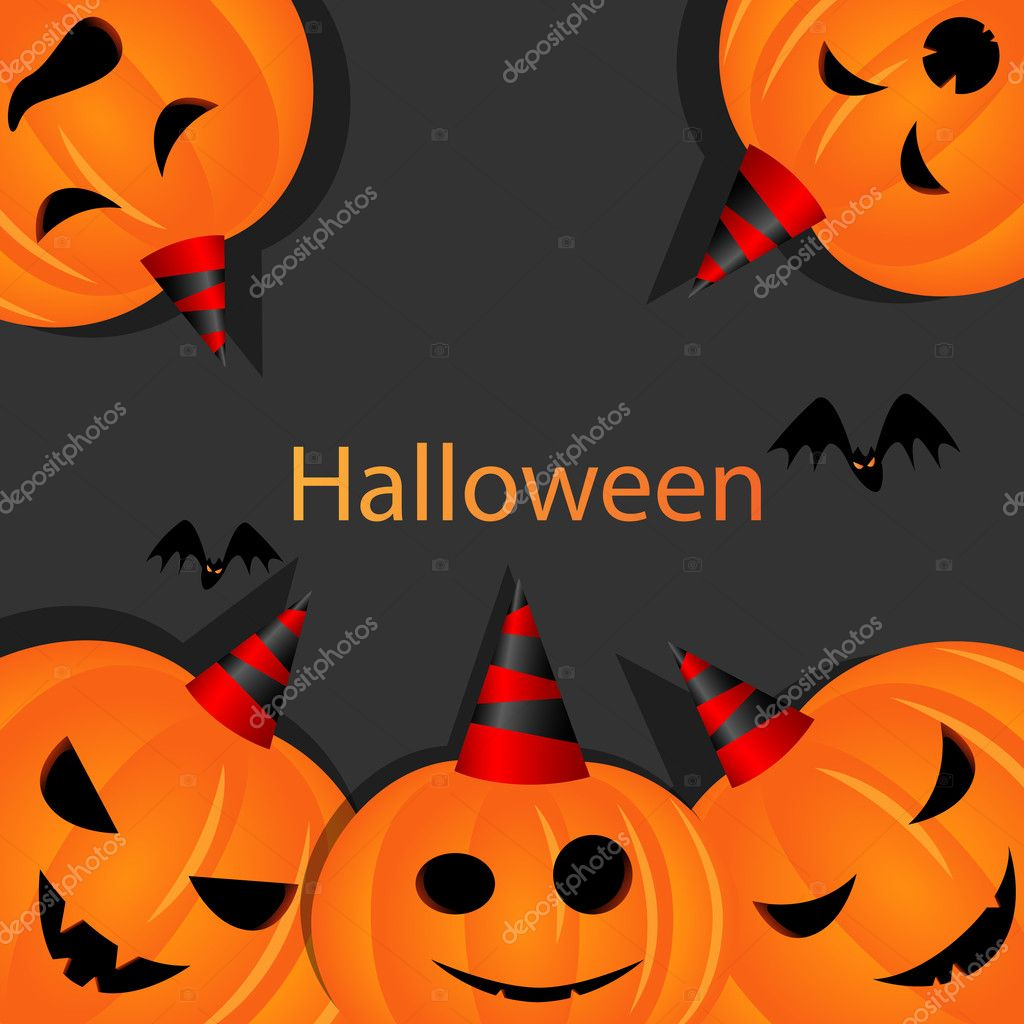 Vector halloween picture with pumpkins — Stock Vector #6750666