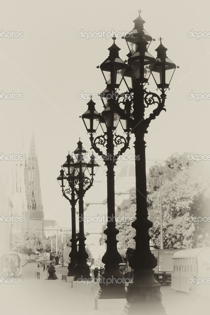 Vintage photo with street lanterns — Stock Photo #7313011