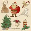 Hand drawn xmas set — Stock Vector