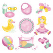 Illustration of cute baby products — Stock Vector
