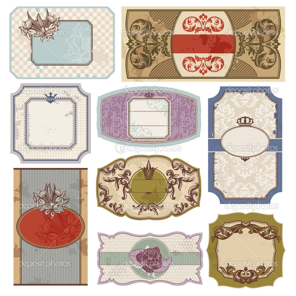 Set of retro vintage labels vector illustration — Stock Vector #6883182