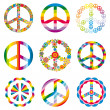 Stock Vector: Set of peace symbols