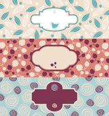 Set of cute floral banners — Stock Vector