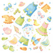 Set of baby clothing - Stock Vector
