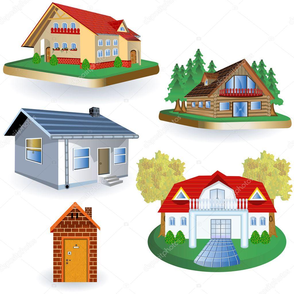 Cinco casas vector de stock stiven 7290737 for Diferentes techos de casas