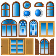 Collection of different windows — Stock Vector