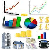 Statistic graphs tool kit — Stock Vector
