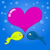 Underwater love. — Stock Vector
