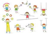 Juggling kids — Stock Vector