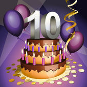 Tenth anniversary cake — Stock Vector