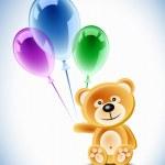 oso de peluche y globos — Vector de stock