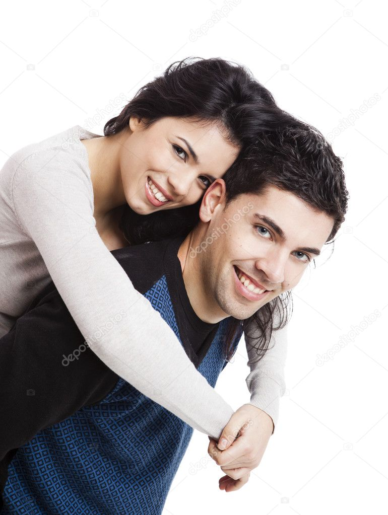 Attractive and happy young couple isolated over a white background — Stock Photo #6851629
