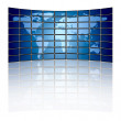 World map on a video wall — Stock Photo