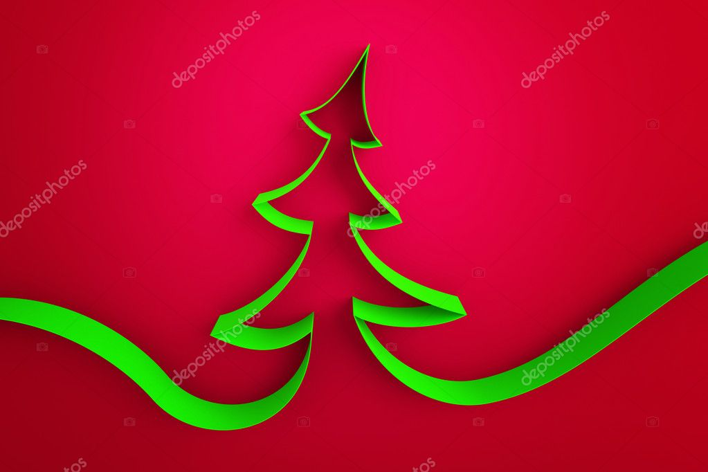 Green ribbon tree on a red background  — Stock Photo #7619758