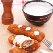 Pancake whit chicken roll — Stock Photo