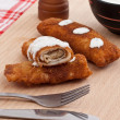 Stock Photo: Pancake whit chicken roll