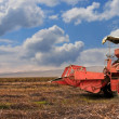 A red old combine — Foto Stock
