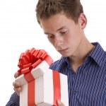 adam hediye ile — Stok fotoğraf