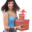 Girl in blue with group gift box — Stock Photo