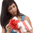 Stock Photo: Beautifull girl opening giftbox