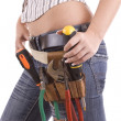 Stock Photo: Womwith tool bag