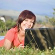 Woman using laptop — Foto Stock